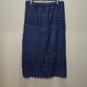 Large, Navy Blue, lace Skirt